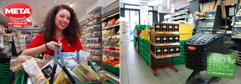 Supermercato Metà in via Candia a Roma, con prodotti bio, vegan e gluten free