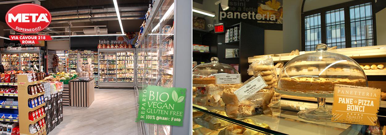 Supermercato Metà in via Cavour a Roma, con prodotti bio, vegan e gluten free