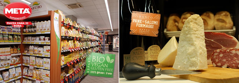 Supermercato Metà in piazza Zama a Roma, con prodotti bio, vegan e gluten free