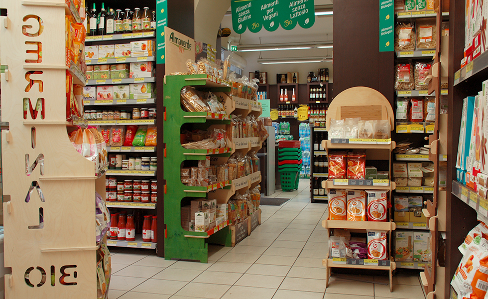 Supermercato Pam, reparto bio, vegan e gluten free
