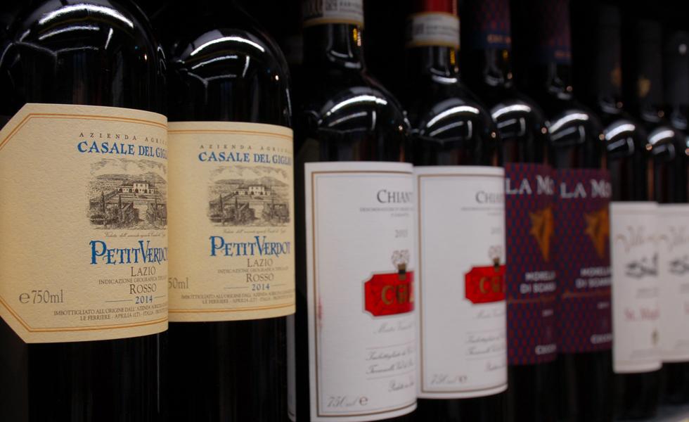 Supermercato Metà, reparto vini e distillati