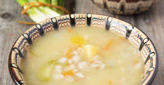 Zuppa di sorgo, zucca, patate e cipollotti per 4 persone