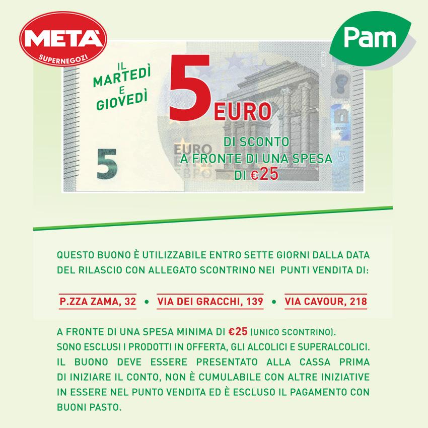 Buono sconto di 5 Euro da Metà e Pam