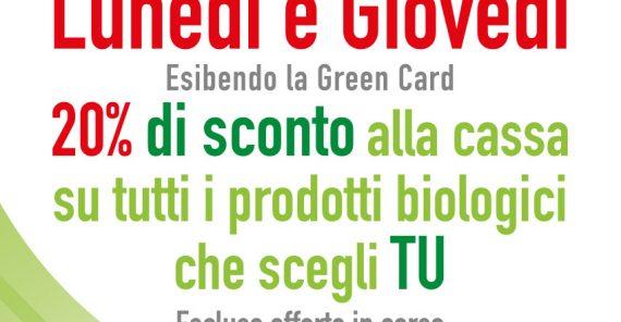 Lunedì e Giovedì 20% di sconto sui prodotti Bio con la Green Card